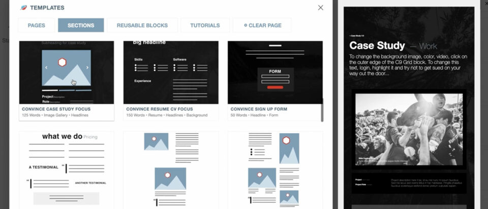 New Section + Page Templates with Modal Preview with C9 Blocks v1.2